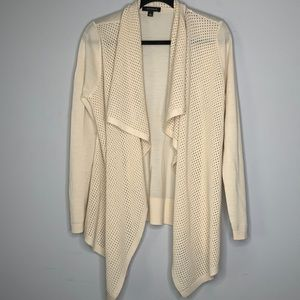 Ann Taylor cream merino wool waterfall cardigan L